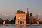 Marrakech-Tensift-Al Haouz, Menara, Morocco, basin, evening light, high Atlas, Marrakech, Menara Gardens, mountains, park, pavilion, MAR