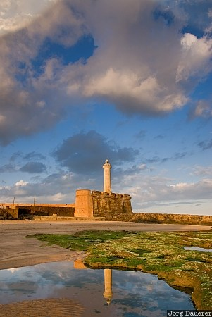 Atlantic ocean, blue sky, clouds, colorful clouds, lighthouse, morning light, Morocco