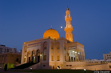 Al Khuwayr ash Shamaliyah, Al-Zawawi Mosque, blue hour, dome, flood lit, minaret, moon