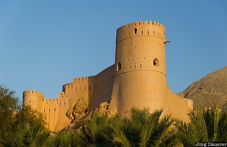 Al Batinah, blue sky, castle, evening light, fort, Nakhal Fort, Nakhl