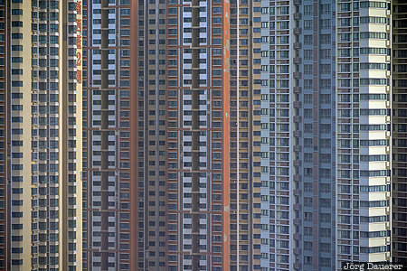 China, CHN, Ganjiazhai, Shaanxi, apartment blocks, balconies, morning light
