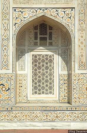 Itimat-ud-Daula, marble, tomb, window, Agra, Uttar Pradesh, India