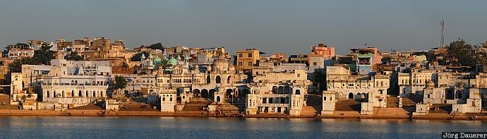 India, Rajasthan, Pushkar, blue sky, holy lake, lake, morning light