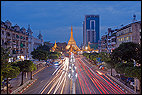 Sule Pagoda, Myanmar, Yangon, blue hour, evening light, flood lit