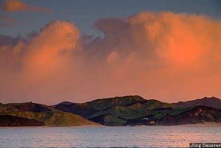 Castle Point, New Zealand, Tinui, clouds, morning light, red clouds, sunrise