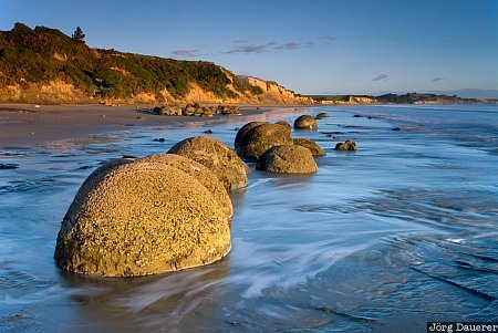Moeraki Boulders, New Zealand, Otago, Hampden, Hillgrove, South Island, coast, flowing water, morning light, pacific ocean