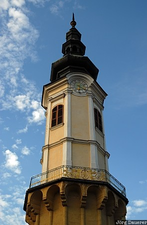 Austria, Styria, Bad Radkersburg, blue sky, clock, clouds, tower