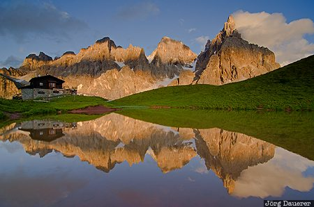 ITA, Italy, Passo Rolle, Trentino-Alto Adige, dolomites, evening light, green