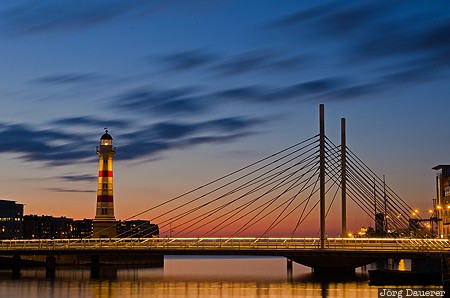 Malmö, SWE, Sweden, blue hour, bridge, clouds, evening light