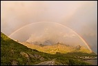 Rainbow, clouds, green, Mefjordvær, morning light, Norway, norwegian Sea, peaks, rugged, Senja