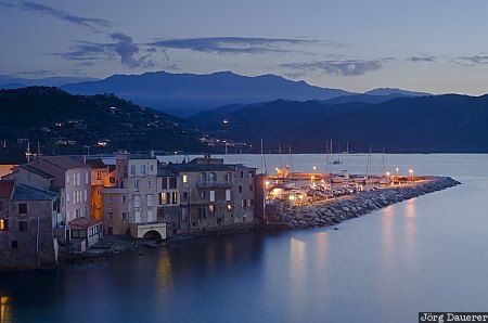 Corse, France, Saint-Florent, FRA, blue hour, buildings, cap corse