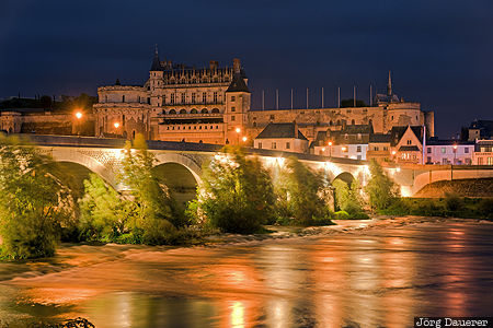 Amboise, Centre, FRA, France, blue hour, bridge, castle