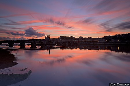 Blois, Centre, FRA, France, bridge, evening light, Loire