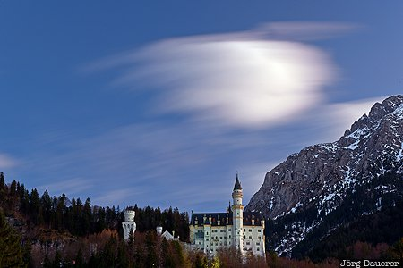 alps, Bavaria, blue hour, castle, clouds, evening light, flood-lit, Germany, Schwangau, Deutschland, Bayern
