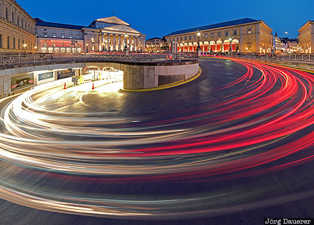 Bavaria, blue hour, evening light, flood-lit, light trails, Opera House, DEU