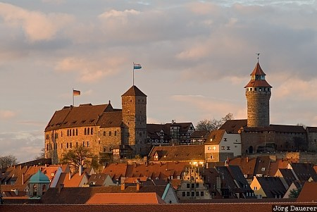 castle, evening light, franconia, Germany, Imperial Castle, Kaiserburg, middle Franconia, Bavaria, Nuremberg, Deutschland, Bayern, Nürnberg, Nuernberg