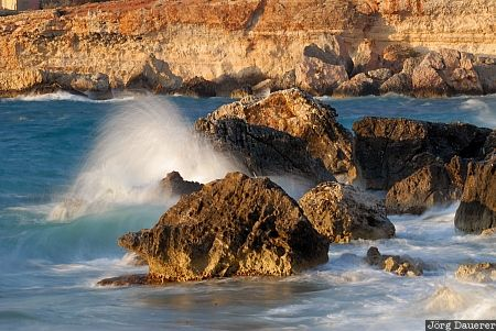 crashing waves, flowing water, L-Ahrax tal-Ghajn, Malta, Mediterranean sea, rocks, sea