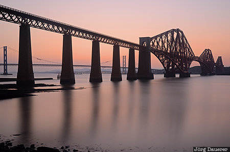 Forth Rail Bridge, 10 stop ND filter, bridge, calm water, evening light, Firth of Forth, long exposure, Lothian, Queensferry, sunset