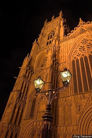 artificial light, night, street light, street lamp, lamp, cathedral, United Kingdom, Yorkshire, York, Großbritannien, Vereinigtes Königreich, Grossbritannien, Vereinigtes Koenigreich