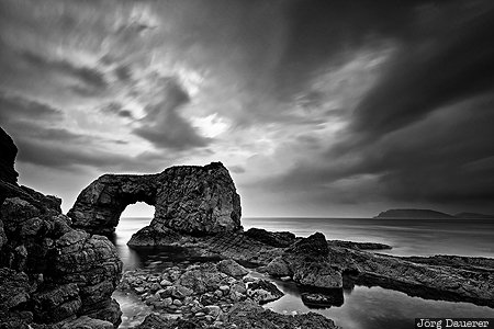Doagh Beg, Republic of Ireland, IRL, Provinz Ulster, beach, coast, dark clouds, Donegal, Great Pollet Sea Arch, Ireland, Irland