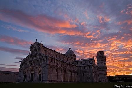 Italy, Pisa, Toscana, blue hour, cathedral, Leaning Tower, morning light