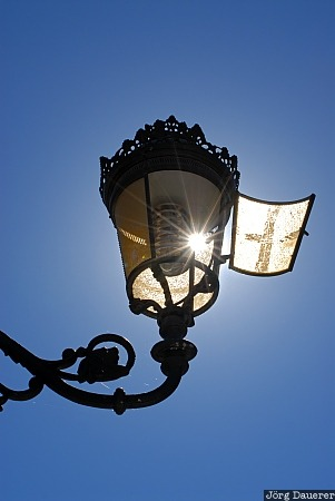 sun, sunbeams, sky, blue sky, street light, street lamp, lamp