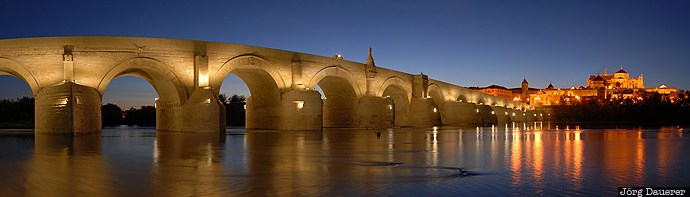 Andalusia, blue hour, bridge, Cathedral, Cordoba, ESP, evening light