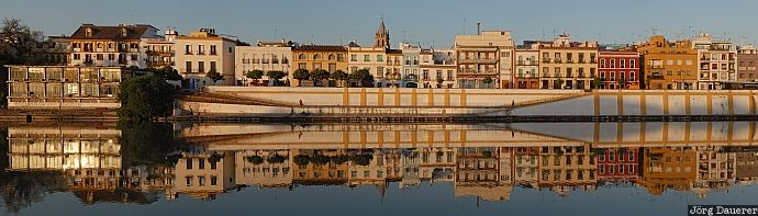 Spain, Andalusia, Seville, reflexion, morning light, river, facades