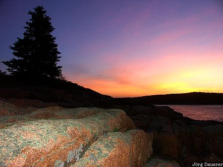 Acadia National Park, Mount Desert Island, Otter Cliffs, United States, Maine, sunset, New England