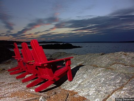 red chairs, flash, Indian Point, Mount Desert Island, United States, Maine, New England