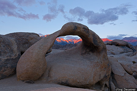 Mobius Arch, California, Lone Pine, United States, USA, Alabama Hills, arch, morning light, Mount Whitney, natural arch
