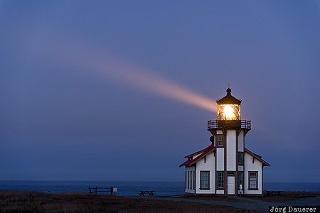 California, Mendocino, United States, USA, blue hour, fog, light beam, Vereinigte Staten, Kalifornien, CA