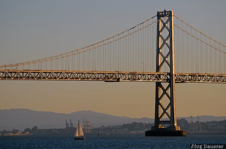 California, San Francisco, United States, USA, back lit, bay bridge, bridge, Treasure Island, Vereinigte Staten, Kalifornien, CA