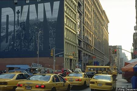 NY Street, yellow cabs, streets of New York City, DKNY, New York, Manhattan, United States, US, North America