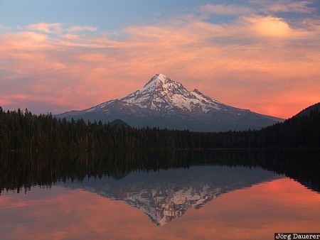 cascades, evening light, lost lake, Lost Lake Resort, mountain, Oregon, red clouds