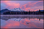Bend, Sparks Lake, Oregon, United States, USA, cascades, central Cascade Range, clouds, colorful, Deschutes National Forest, landscape, red clouds, reflexion, sisters, south sister, Sparks Lake, sunrise