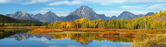 Mount Moran, Oxbow Bend, Grand Teton National Park, autumn, autumn colors, Wyoming, morning