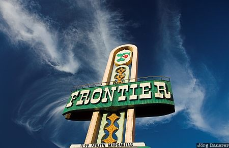 New Frontier, casino, sign, blue sky, clouds, Las Vegas, Nevada