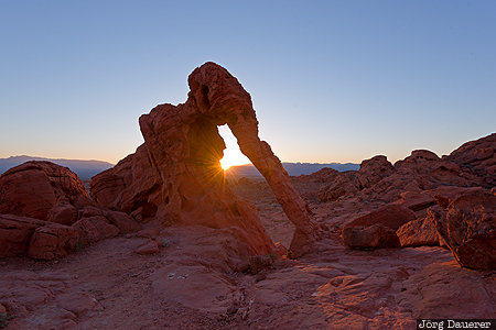 Nevada, United States, USA, arch, back-lit, Elephant Rock, morning light