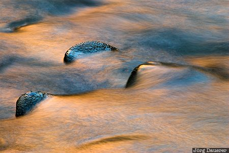canyon, flowing water, motion, reflexion, rocks, Springdale, United States
